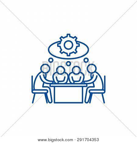 Brainstorming Line Icon Concept. Brainstorming Flat  Vector Symbol, Sign, Outline Illustration.