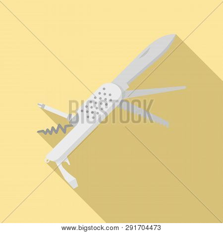 Multifunctional knife icon. Flat illustration of multifunctional knife vector icon for web design poster