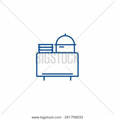 Buffet In Restaurant Line Icon Concept. Buffet In Restaurant Flat  Vector Symbol, Sign, Outline Illu