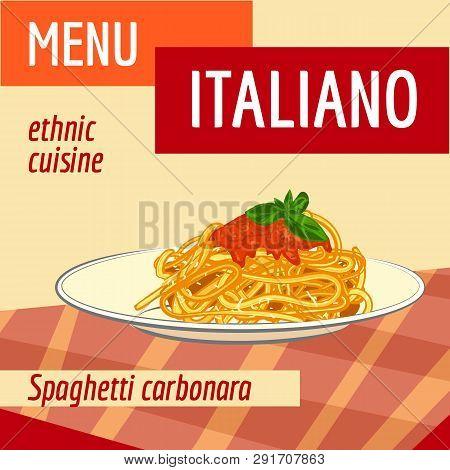 Spaghetti Carbonara Concept Background. Cartoon Illustration Of Spaghetti Carbonara Vector Concept B