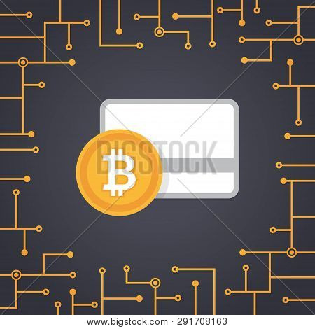 Bit-coin Payment In Flat Design Vector With Circuit Board Background
