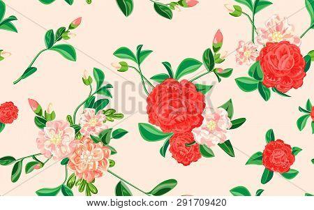 Soft Camellia Pattern. Cartoon Illustration Of Soft Camellia Vector Pattern For Web Design