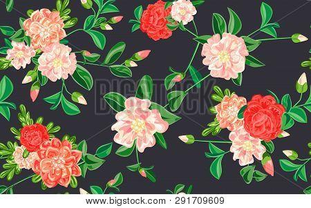 Camellia Pattern. Cartoon Illustration Of Camellia Vector Pattern For Web Design
