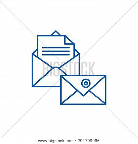 Business correspondence line icon concept. Business correspondence flat  vector symbol, sign, outline illustration. poster