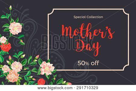 Mother Day Camellia Concept Banner. Cartoon Illustration Of Mother Day Camellia Vector Concept Banne