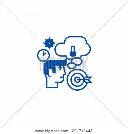 Business Idea, Brainstorm, Target Goal,  Line Icon Concept. Business Idea, Brainstorm, Target Goal,