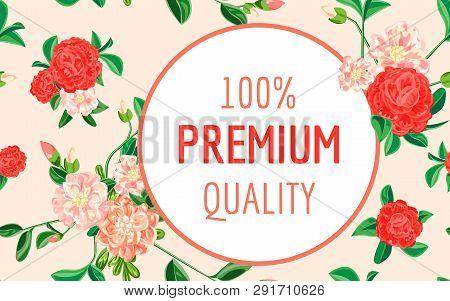 Camellia Premium Quality Concept Banner. Cartoon Illustration Of Camellia Premium Quality Vector Con