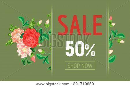 Camellia Sale Concept Banner. Cartoon Illustration Of Camellia Sale Vector Concept Banner For Web De