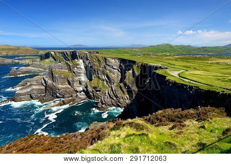 Amazing Wave Lashed Kerry Cliffs, Widely Accepted As The Most Spectacular Cliffs In County Kerry, Ir