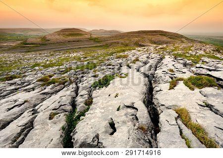 Spectacular Landscape Of The Burren Region Of County Clare, Ireland.