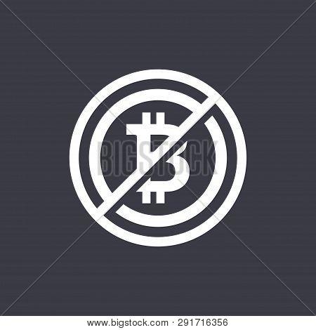 Flat Design Negative Space Sign No Bit-coin