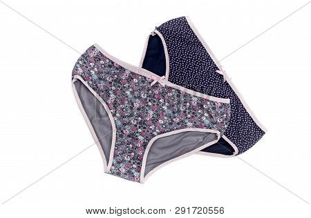 Female, New, Modern Panties With Pattern On A White Background Close-up