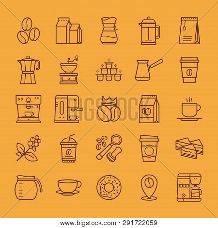 Coffee Icons Set. Simple Set Of Coffee Related Vector Line Icons. Vector Of Hot Drink Design Element