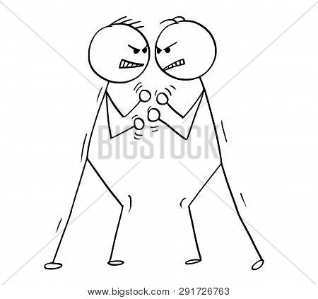 Cartoon Stick Figure Drawing Conceptual Illustration Of Two Men Or Businessmen Fighting, Boxing Or B