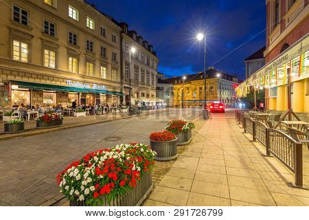 Warsaw, Poland - September 5, 2018: Architecture of the old town of Warsaw at night, Poland. Warsaw is the capital and largest city of Poland.