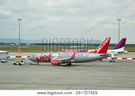 BUDAPEST, HUNGARY - MARCH 22, 2017: Airliner of Jet2.com at Budapest Liszt Ferenc Airport. Jet2 is a low-cost airline based in Leeds, England.