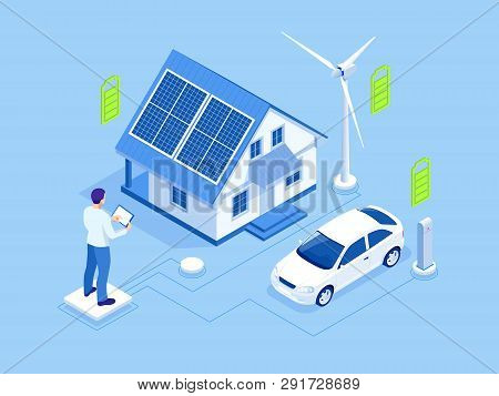Eco Energy And Ecology Concept. Green Energy An Eco Friendly Modern House. Renewable Energy Solar An