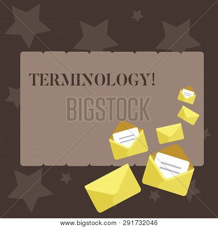 Conceptual hand writing showing Terminology. Business photo showcasing Collection of terms used by different profession study industry Closed and Open Envelopes with Letter on Color Stationery. poster