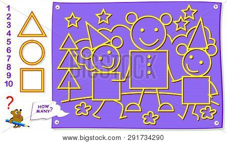 Printable Educational Page For Kids. How Many Each Geometric Figures Can You Find? Count The Quantit