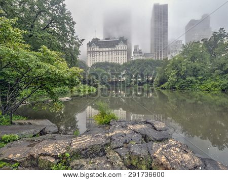 Central Park At The Lake On A Rainy Day In Late Summer