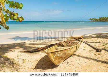 Travel Vacation Tropical Destination. Sandy Beach Landscape. Travel Vacations Destination. Travel Co