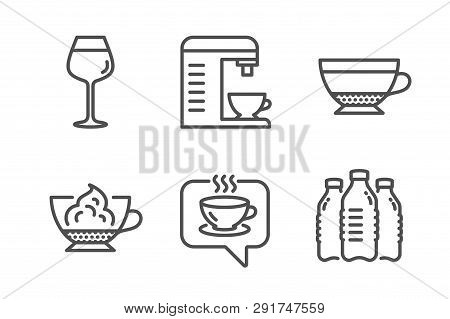 Coffee Machine, Dry Cappuccino And Coffee Icons Simple Set. Bordeaux Glass, Espresso Cream And Water