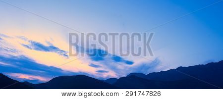 Sunset in the Alpine Mountains. Dinaric Alps, the Lovcen mountains, Montenegro