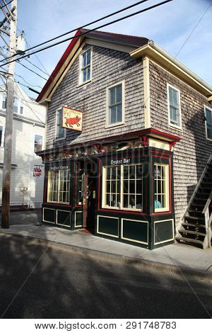 PROVINCETOWN, MASSACHUSETTS -SEPTEMBER 14, 2014: The Squealing Pig  restaurant building exterior in Provincetown in Cape Cod