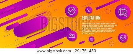 Header Banner. Internet, Online Education And Award Cup Icons Simple Set. Environment Day, Audit And