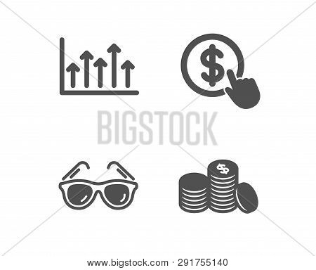 Set Of Buy Currency, Growth Chart And Sunglasses Icons. Banking Money Sign. Money Exchange, Upper Ar