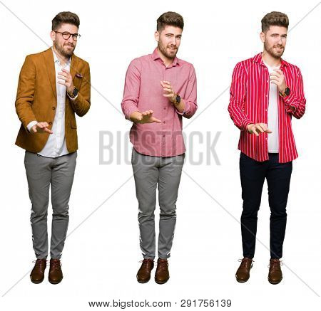 Collage of handsome young business man over white isolated background disgusted expression, displeased and fearful doing disgust face because aversion reaction. With hands raised. Annoying concept.
