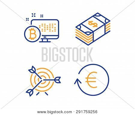 Bitcoin System, Target And Usd Currency Icons Simple Set. Exchange Currency Sign. Cryptocurrency Mon
