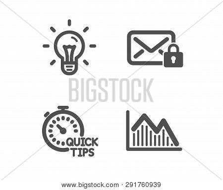 Set Of Quick Tips, Idea And Secure Mail Icons. Investment Graph Sign. Helpful Tricks, Light Bulb, Pr