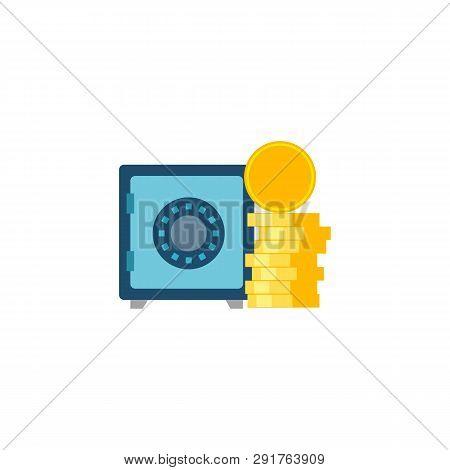 Safe Wit Coins Stack. Safe Wit Coins Stack Vector Flat Icon Isolated On White Background.