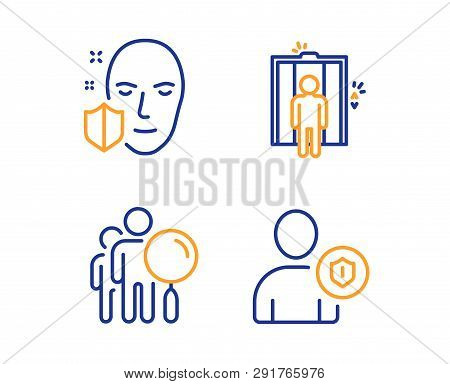 Search People, Elevator And Face Protection Icons Simple Set. Security Sign. Find Employee, Lift, Se