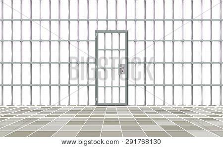 Realistic Background Prison Iron Interior. Gray Door Jail Cells Bars Modern. Banner Vector Detailed