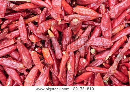 Red Dried Chili Pepper Heap Close-up In A Chinese Market, Chengdu, China