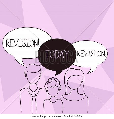 Conceptual hand writing showing Revision. Business photo text Rechecking Before Proceeding Self Improvement Preparation Family of One Child Between Father and Mother Speech Bubble. poster