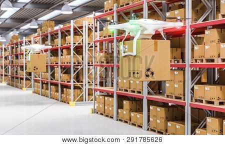 Modern drone carries a cardboard package between the aisles of a warehouse. 3d render image. Automated logistics concept.