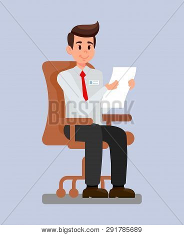 Employer At Workplace Cartoon Vector Illustration. Hr Manager Reading Job Application, Cv, Resume. N