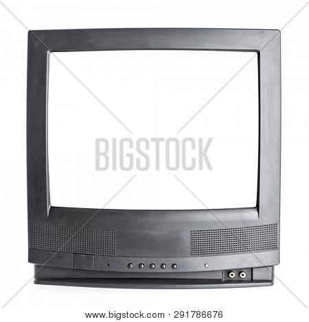 Front panel of vintage black stereo CRT television set with cut out screen isolated on white background. Retro technology concept