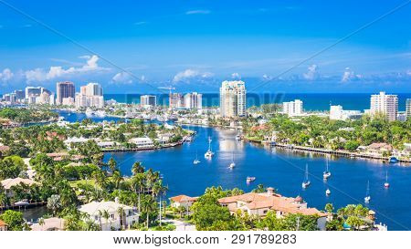 Fort Lauderdale, Florida, USA skyline over Barrier Island.