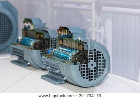 Cross Section Present Inside Of Industrial Electric Motor At Factory Storage