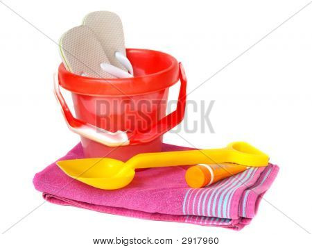 Bucket,Spade,Towel Sun-Cream And Flip-Flops