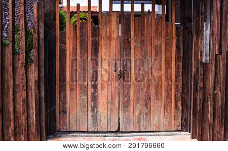 Dark Brown Colored Natural Textured Wood Panel For Wooden Fence Or Wall Board Background. Interior D