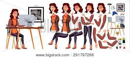 Office Worker . Woman. Happy Clerk, Servant, Employee. Business Human. Face Emotions, Various Gestur
