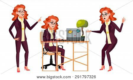 Office Worker .woman. Successful Officer, Clerk, Servant. Adult Business Woman. Face Emotions, Vario