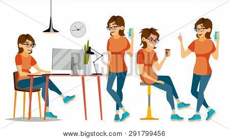 Business Woman Character . Female In Different Poses. Clerk In Office Clothes. Designer, Manager. Ca