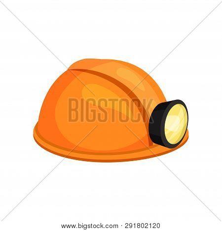 Yellow Miner Helmet On White Background. Vector Illustration.