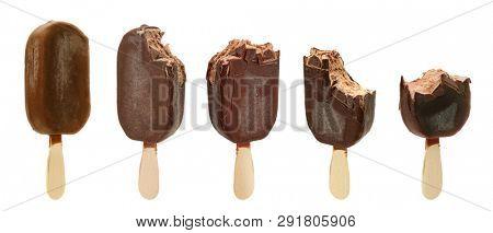 bitten ice cream isolated on white background